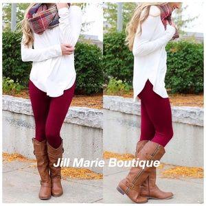 Burgundy leggings fleece lined Size Small NWT